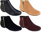 Ladies Ankle Flat Heel Stud Pull Zip On Studs Riding Biker Boots Shoes Size 3-8