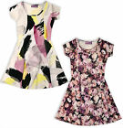 Girls Floral Skater Dress Kids Flared Party Dresses Age 3 4 5 6 7 8 9 10 Years