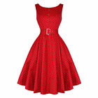 Hearts & Roses London Sleeveless Red Dot Vintage 50s Party Prom Dress