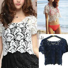 AU SELLER Bohemian Vintage Eyelet Crochet Lace Crop Top Bikini Cover Up t098-1
