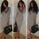 Womens Long Sleeves V Neck Grey Black Bodycon Fitted Evening Midi Pencil Dress