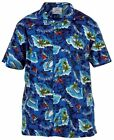 Mens Extra Large Short Sleeve Cotton Hawaiian Beach Shirt Blue Kingsize Big Size