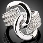 Unique Clear Crystals Knot  White Gold GP Fashion Ring