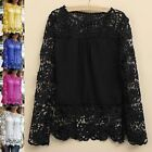 Women's Breathable Lace Embroidery Chiffon Shirt Hollowed Long Sleeve Top Blouse