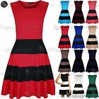 Womens Ladies Sleeveless Black Blocks Stripe Panel Flared Skater Dress Plus Size