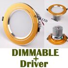 DIMMABLE 3 5 7 9 12W LED Ceiling Fixture Recessed Lamp Down light +Driver Golden