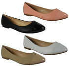 NEW WOMENS LADIES PATENT FLAT BALLERINE BALLET CASUAL WORK COMFY SHOES SIZE 3-8
