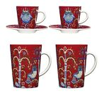 Iittala Taika Red Porcelain Set of 2 Espresso Cups or Coffee Mugs Cups Gift Set