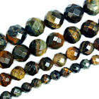 "Natural Faceted Yellow Blue Tiger Eye Round Beads 15.5"" 6,8,10,12mm Pick Size"