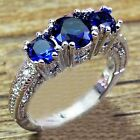 Jewelry new Ring sz5 to 10  Blue Sapphire lady's 10KT White Gold Filled Wedding