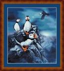 PUFFINS- 14 COUNT CROSS STITCH CHART (DMC THREADS) FREE PP WORLDWIDE