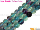 "Natural Round Multi-color Fluorite Gemstone Loose Beads 15""  6/8/10/12mm Select"