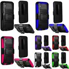 For ZTE ZMax Hard Silicone Hybrid Rubber Case w/stand Holster Stand Cover