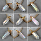 Angel Cluster Aura Titanium AB Druzy Quartz Crystal Point Pendant Golden HG061