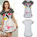 Women Cartoon Sweet Polka Dot Rabbit Sleepwear Pajama Short Sleeve Sleep Dress