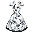 Ladies White Floral Vintage 50s Retro Rockabilly Party Prom Swing Tea Dress