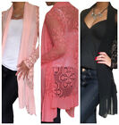 Cardigan Ladies Womens Long Top Sleeve Open Bolero Crochet New Size 8 10 12 14