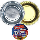 12 PACK GOLD SILVER METALLIC PAPER PLATES FOOD BBQ PARTY DISPOSABLE BUFFET 23cm