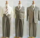 Boy dark taupe/khaki/ivory toddler youth wedding party formal suit all size