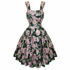 Hearts and Roses London Bewitching Dark Floral 50s Vintage Tea Party Dress