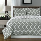 Meridian Gray and White Egyptian Cotton Duvet Cover Set Contemporary Print 300TC