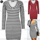 Womens Ladies Dog Tooth Printed V Neck Tight Fit Tunic Bodycon Short Mini Dress