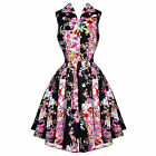 Voodoo Vixen Black Floral Vintage 50s Flared Party Dress
