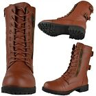 Womens Faux Leather Lace Up Zipper Close Mid Calf Combat Boots Tan