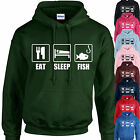 EAT, SLEEP, FISH HOODIE ADULT/KIDS - PERSONALISED - TOP GIFT FISHING ANGLING