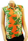 New Retro Vtg 1950's Orange Green Hawaiian Hi Low Rockabilly Shirt Blouse