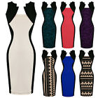 Womens New Colour Block Bodycon Illusion Fitted Career Work Office Pencil Dress