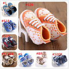 New Baby Boy Girl KID Crib Lace Up Shoes PreWalker Sneakers Size 0-18 Months #FU