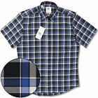 Adaptor Clothing All Cotton Button Down S/S Classic Check Shirt Blue / White