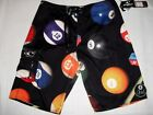O'NEILL SIZE 32 MEN'S BLACK POOL BILLIARD BALLS BOARD SHORTS TRUNKS SWIMSUIT NWT