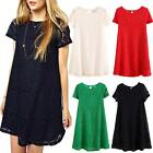 Party Lace Tunic Dress Womens Mini Casual Summer Ladies Vintage Dresses Size