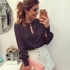 Women Polka Dot Chiffon Tops Casual T-shirt Long Sleeve Career Fashion Blouse