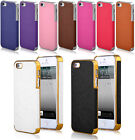 New Ultra Thin Slim Leather Chrome Hard Back Case Bumper Skin For iPhone 5 5S 5G