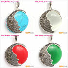 Beauty Fashion Marcasite Silver Pendant with 34mm Coin Beads+Free Gift Box/Chain