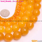 """Beauty Round Faceted Yellow Jade Gemstone Beads Strand 15"""" 4/6/12/14/16mm Select"""
