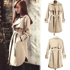 New Women's Ladies Lapel Trench Coat Long Sleeve Jacket Belted Outwear Fashion