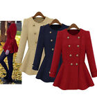 Women Winter  Peplum Long Sleeve Double-breasted Coat Outwear Trench 3 colors