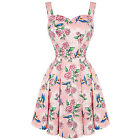 Hell Bunny Lacy Pink Rose Swallow Tattoo Kitsch Mini Party Prom Dress