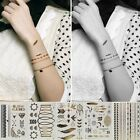 2015 Fashion Removable Waterproof Arm Body Art MetallicTemporary Tattoo Stickers