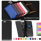 "Leather Wallet Flip Case Cover For New Apple iPhone 6 4.7"" Free Screen Protector"