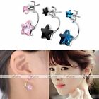 Pair Double Star Crystal Glass Gems Eardrop Curved Bar Stud Earrings Charms Gift