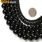 Natural Genuine Round Black Tourmaline Gemstone Beads For Jewelry Making 15""