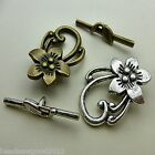 5 ANTIQUE SILVER OR BRONZE TONE FLOWER STYLE TOGGLE CLASPS 29mm Findings