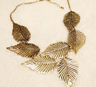 FASHION WOMEN BIB STATEMENT CHUNKY CHOKER NECKLACE LEAF GOLD PENDANT Jewellery
