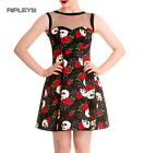 HELL BUNNY Mini Dress LOLA ROSE Skulls/Flowers Goth Rock All Sizes