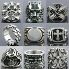 Mens Gothic Skull Head Cross LOVE Faith HOPE Stainless Steel Finger Ring Jewelry